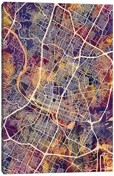 Austin Texas City Map II Canvas Art Print