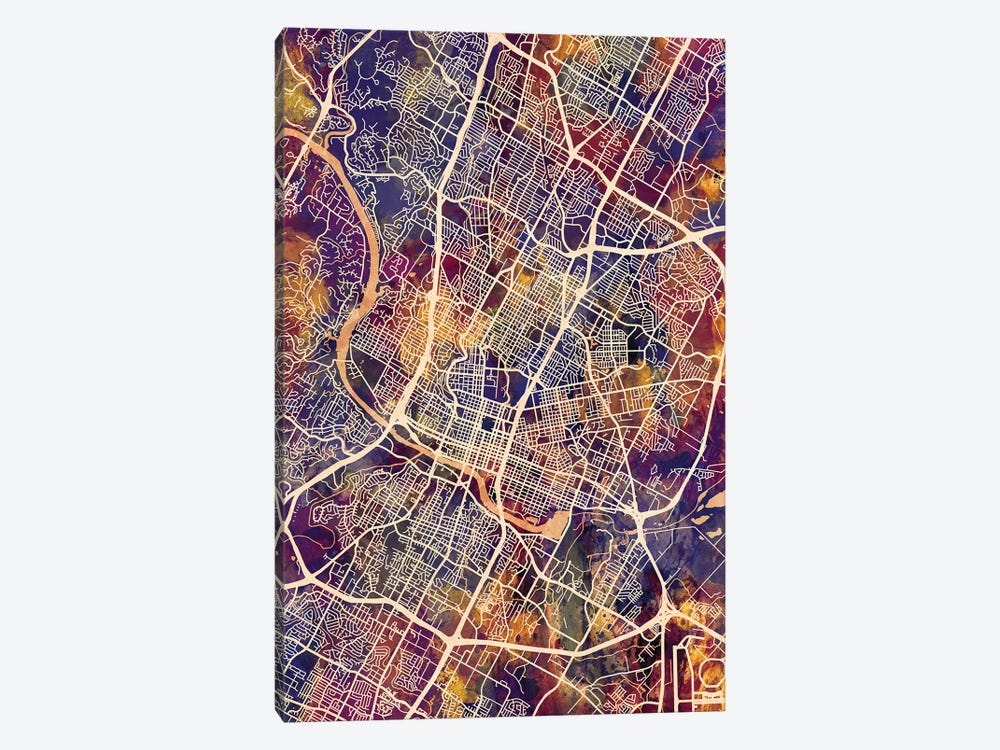Austin Texas City Map II by Michael Tompsett 1-piece Art Print