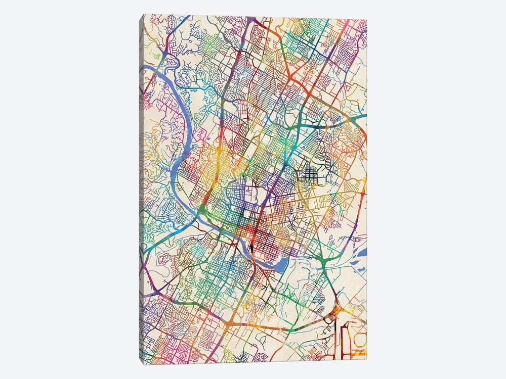 Map Of Texas City.Austin Texas City Map Iii Canvas Wall Art By Michael Tompsett Icanvas