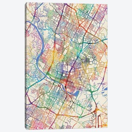 Austin Texas City Map III Canvas Print #MTO1674} by Michael Tompsett Canvas Wall Art