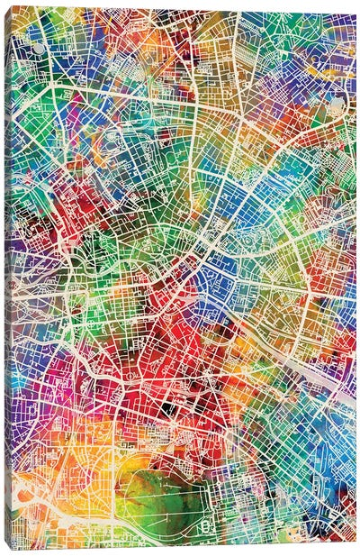 Berlin Germany City Map I Canvas Art Print