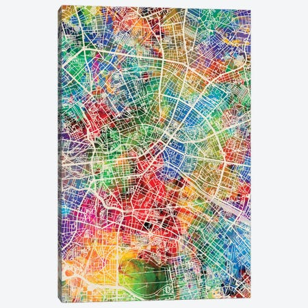 Berlin Germany City Map I Canvas Print #MTO1677} by Michael Tompsett Canvas Artwork
