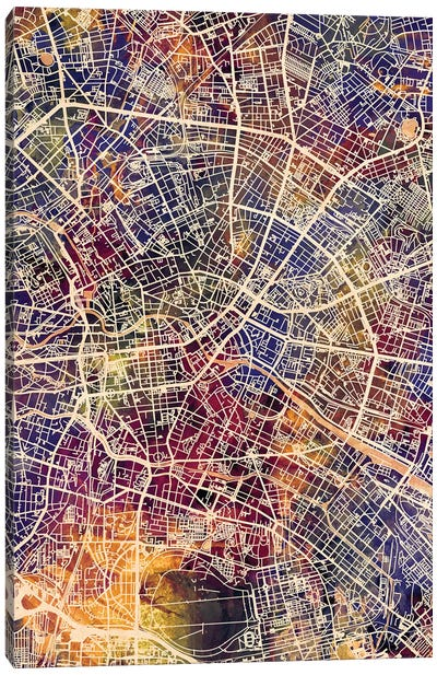 Berlin Germany City Map II Canvas Art Print