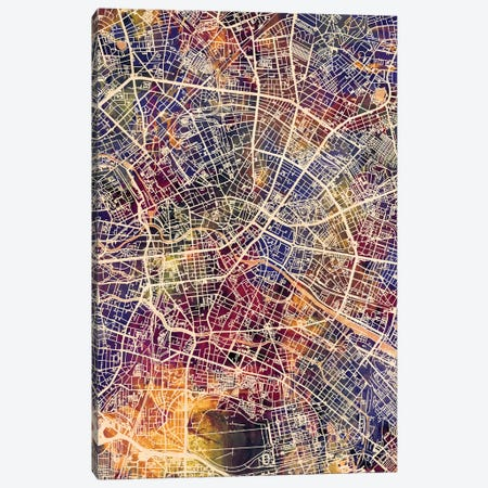 Berlin Germany City Map II Canvas Print #MTO1678} by Michael Tompsett Canvas Art Print
