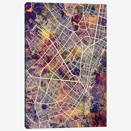 Bogota Colombia City Map II Canvas Print #MTO1680} by Michael Tompsett Canvas Artwork