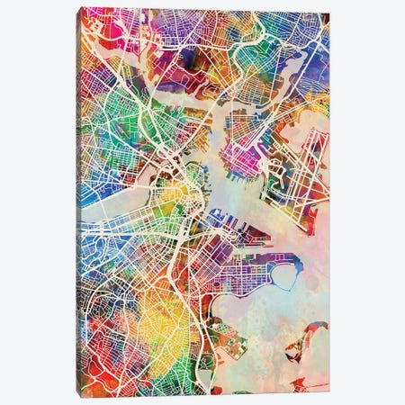 Boston Massachusetts Street Map I Canvas Print #MTO1681} by Michael Tompsett Canvas Artwork