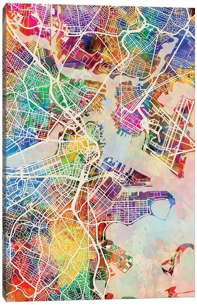 Boston Massachusetts Street Map I Canvas Art Print