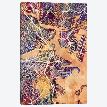 Boston Massachusetts Street Map II 3-Piece Canvas #MTO1682} by Michael Tompsett Canvas Artwork