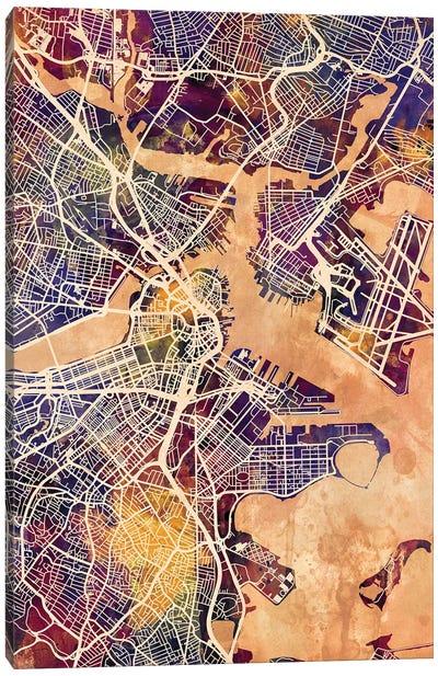 Boston Massachusetts Street Map II Canvas Art Print