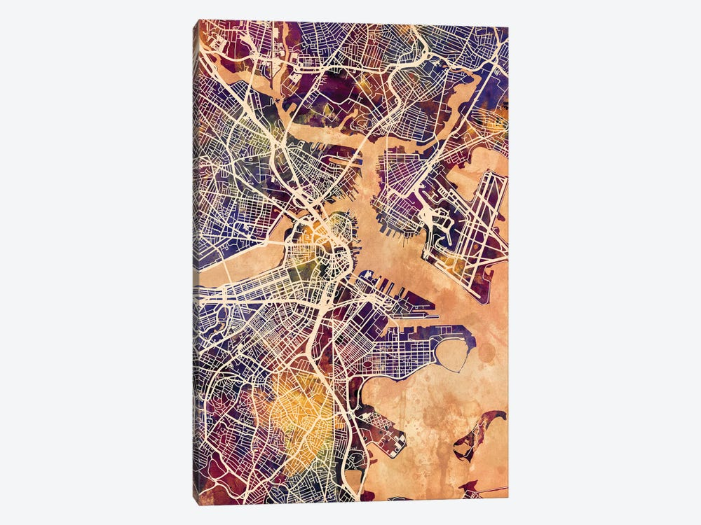 Boston Massachusetts Street Map II by Michael Tompsett 1-piece Canvas Print