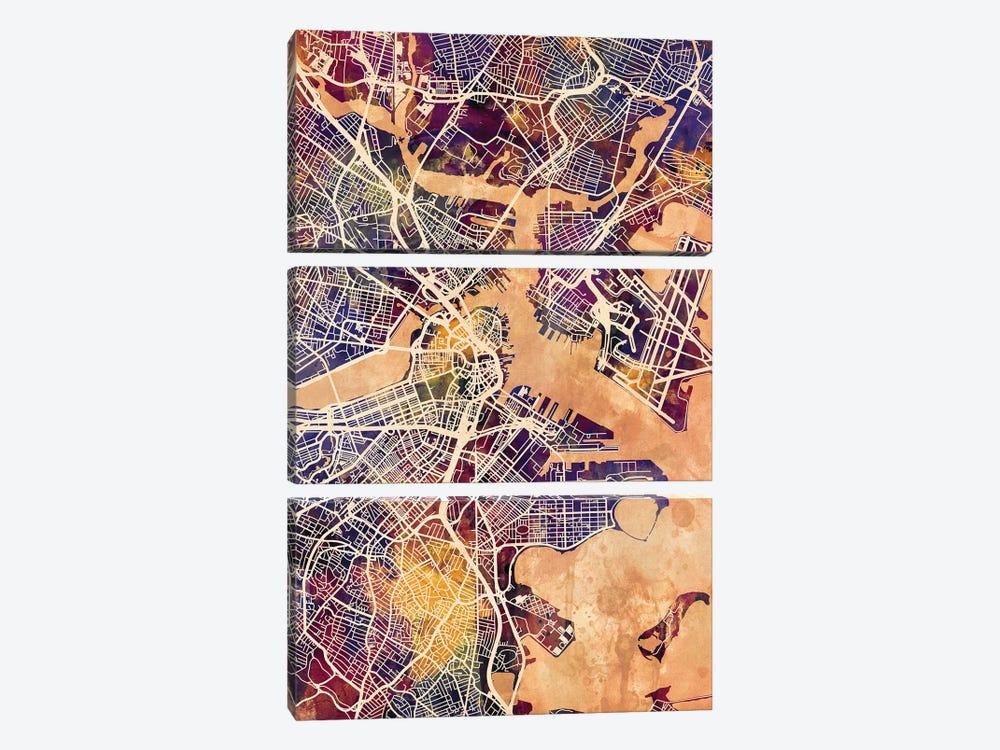 Boston Massachusetts Street Map II by Michael Tompsett 3-piece Canvas Print
