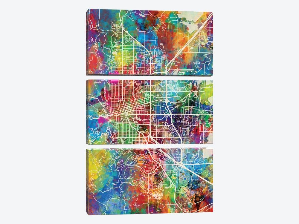 Boulder Colorado City Map I by Michael Tompsett 3-piece Canvas Wall Art