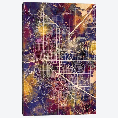 Boulder Colorado City Map II 3-Piece Canvas #MTO1684} by Michael Tompsett Canvas Print