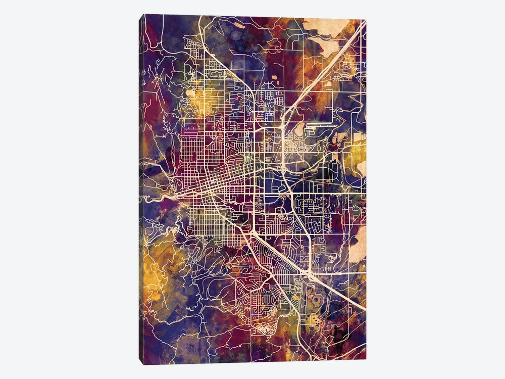 Boulder Colorado City Map II 1-piece Canvas Art Print