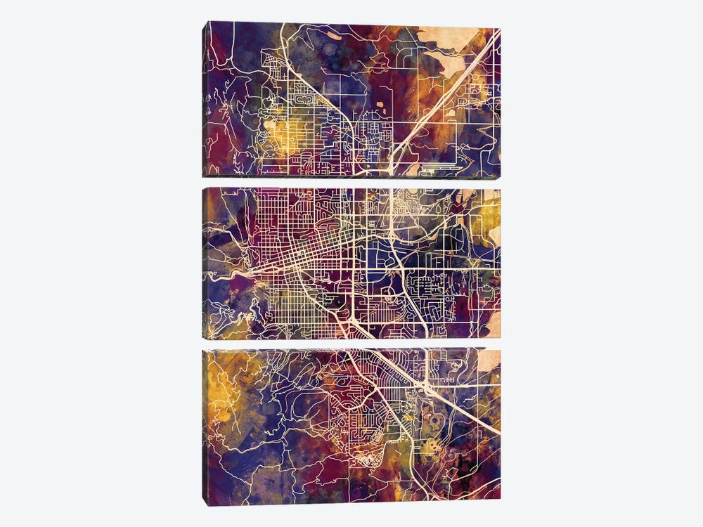 Boulder Colorado City Map II 3-piece Art Print