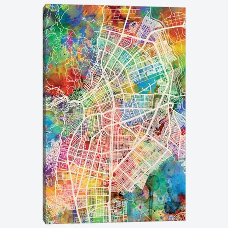 Cali Colombia City Map I Canvas Print #MTO1685} by Michael Tompsett Canvas Print