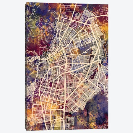 Cali Colombia City Map II Canvas Print #MTO1686} by Michael Tompsett Canvas Print