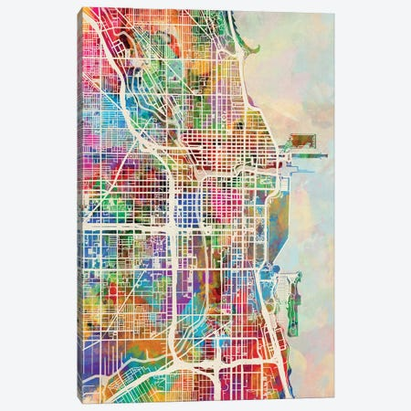 Chicago City Street Map I Canvas Print #MTO1689} by Michael Tompsett Canvas Artwork