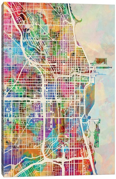 Chicago City Street Map I Canvas Art Print