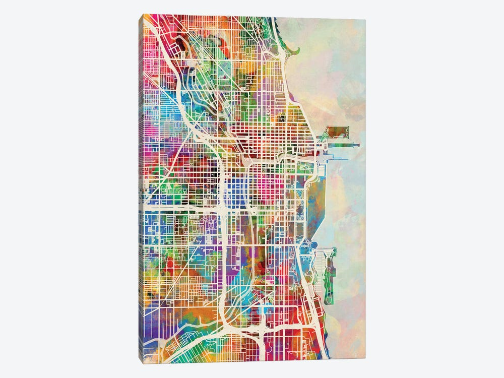 Chicago City Street Map I by Michael Tompsett 1-piece Canvas Wall Art