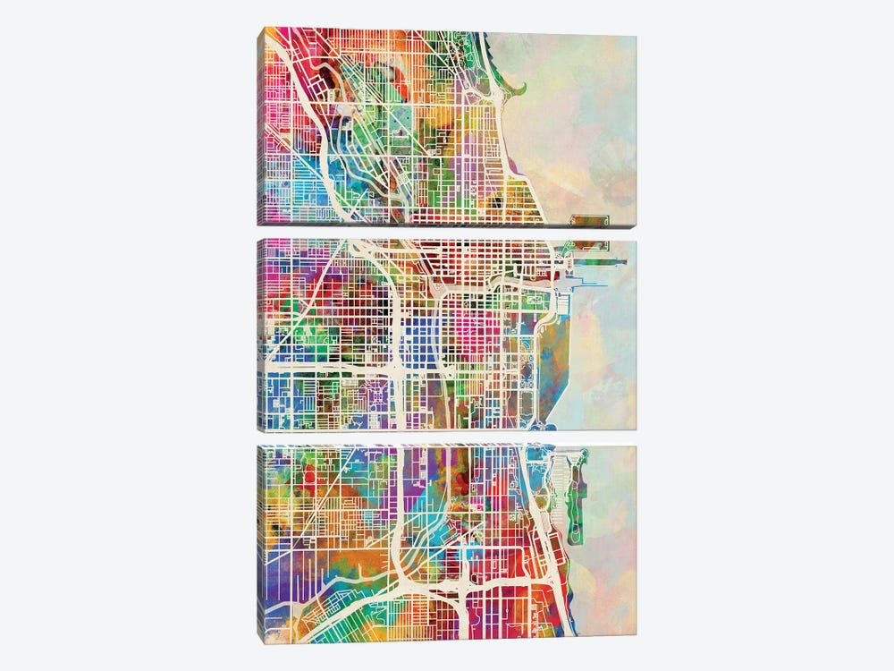 Chicago City Street Map I by Michael Tompsett 3-piece Canvas Wall Art