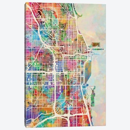 Chicago City Street Map I Canvas Print #MTO1689} by Michael Tompsett Canvas Artwork