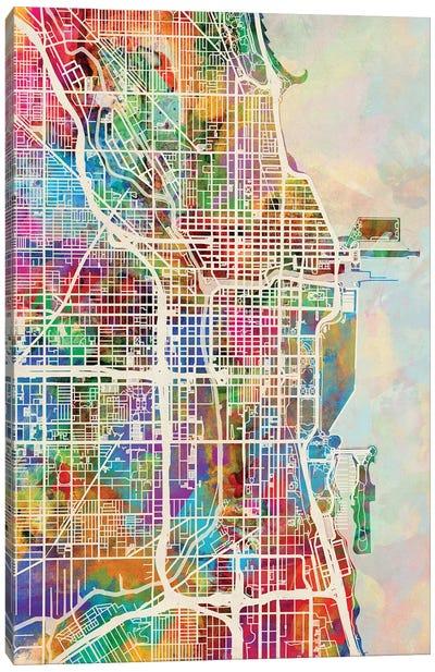 Chicago City Street Map I Canvas Art Print