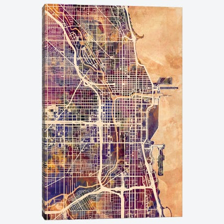 Chicago City Street Map II Canvas Print #MTO1690} by Michael Tompsett Canvas Art Print