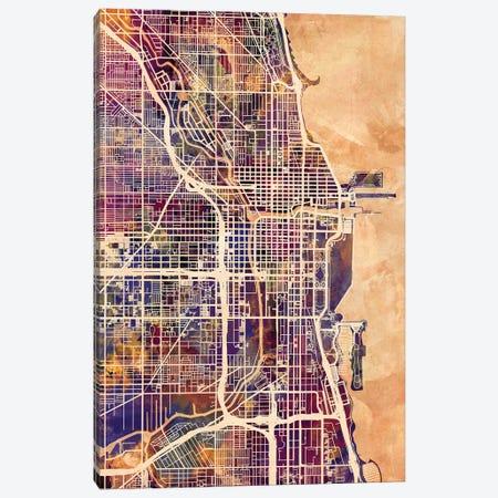 Chicago City Street Map II Canvas Print #MTO1690} by Michael Tompsett Canvas Art Print