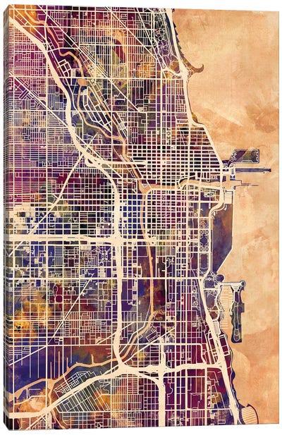 Chicago City Street Map II Canvas Art Print