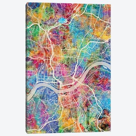 Cincinnati Ohio City Map III Canvas Print #MTO1691} by Michael Tompsett Art Print