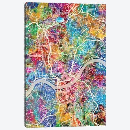 Cincinnati Ohio City Map III Canvas Print #MTO1691} by Michael Tompsett Art Print