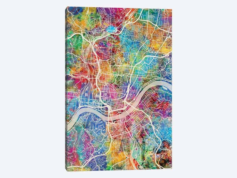 Cincinnati Ohio City Map III Canvas Wall Art by Michael Tompsett | on