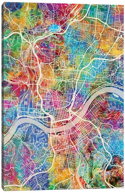Cincinnati Ohio City Map III Canvas Art Print