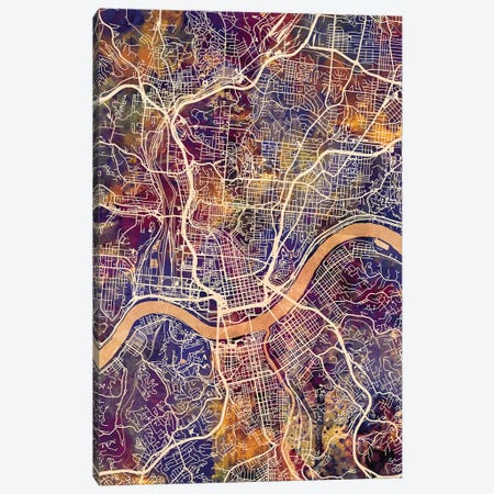 Cincinnati Ohio City Map II Canvas Print #MTO1692} by Michael Tompsett Canvas Art Print