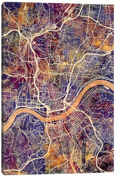 Cincinnati Ohio City Map II Canvas Art Print