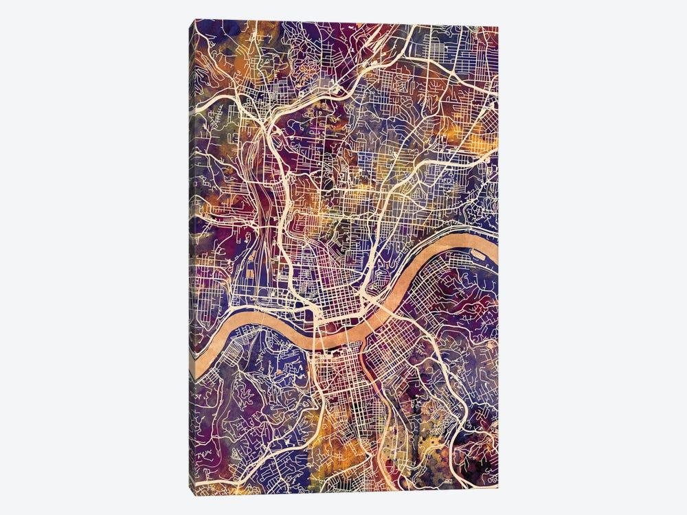 Cincinnati Ohio City Map II by Michael Tompsett 1-piece Canvas Art