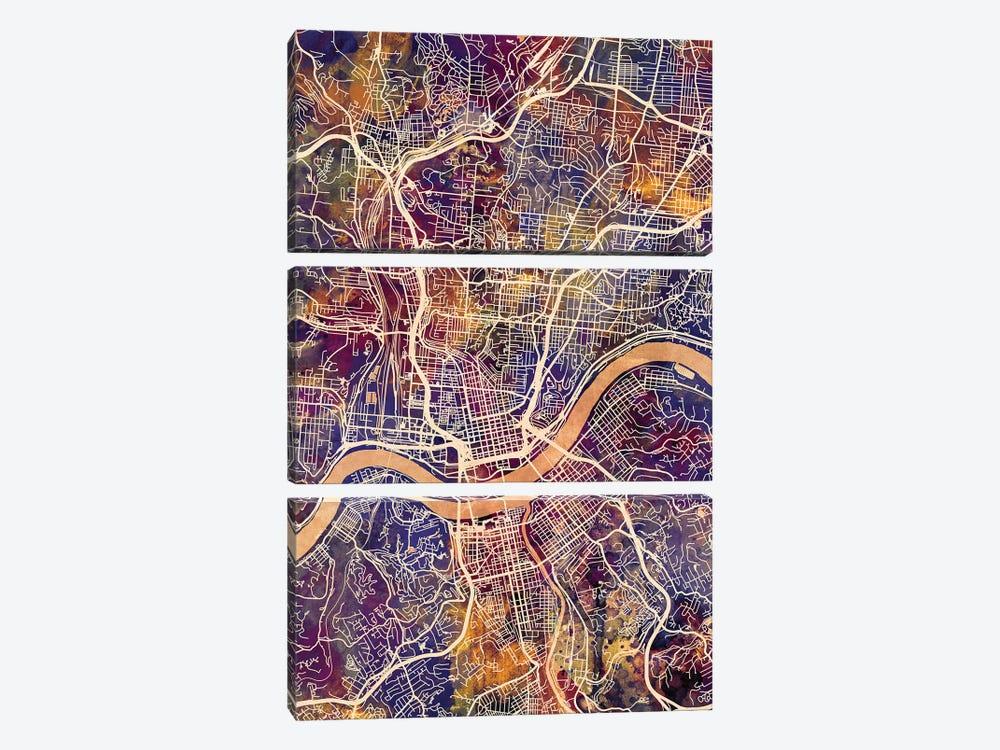 Cincinnati Ohio City Map II by Michael Tompsett 3-piece Canvas Art