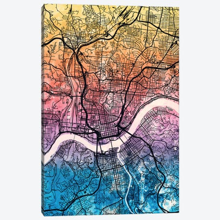 Cincinnati Ohio City Map IV Canvas Print #MTO1693} by Michael Tompsett Art Print