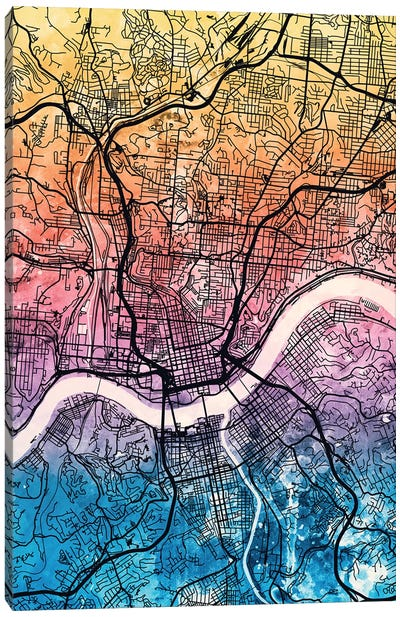 Cincinnati Ohio City Map IV Canvas Art Print