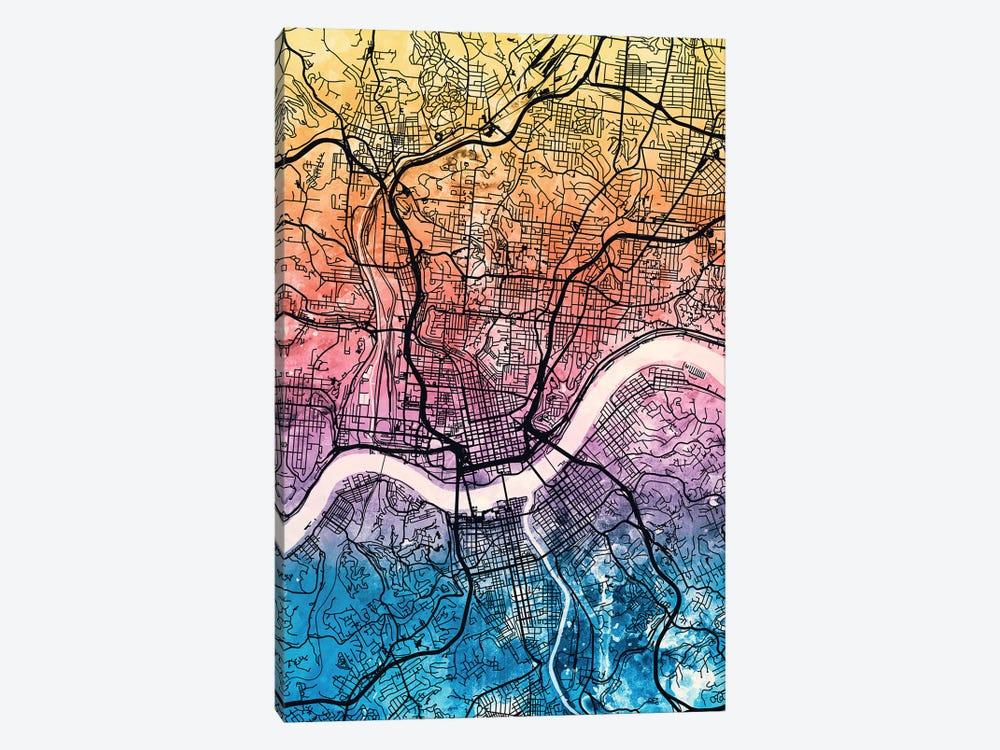Cincinnati Ohio City Map IV by Michael Tompsett 1-piece Canvas Print