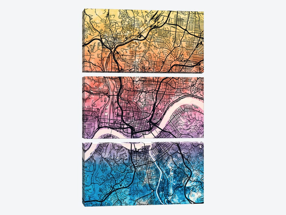 Cincinnati Ohio City Map IV by Michael Tompsett 3-piece Canvas Art Print