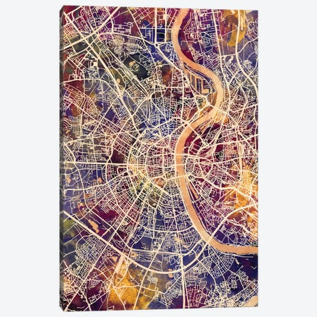 Cologne Germany City Map II Canvas Print #MTO1695} by Michael Tompsett Canvas Wall Art