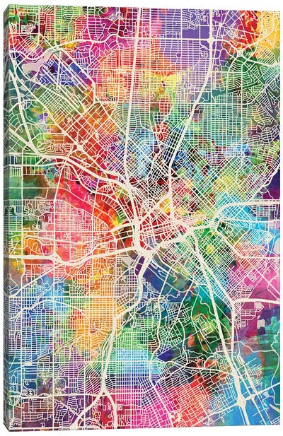 Dallas Texas City Map I Canvas Art Print