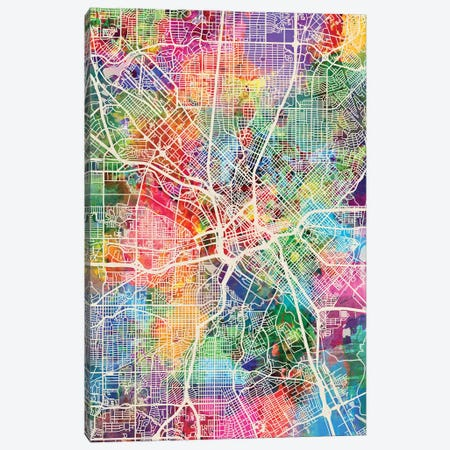 Dallas Texas City Map I Canvas Print #MTO1696} by Michael Tompsett Canvas Art