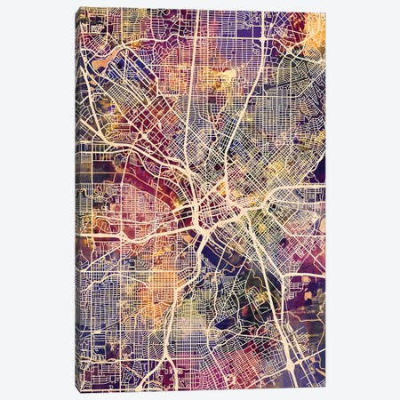 Dallas Texas City Map II Canvas Print #MTO1697} by Michael Tompsett Canvas Wall Art
