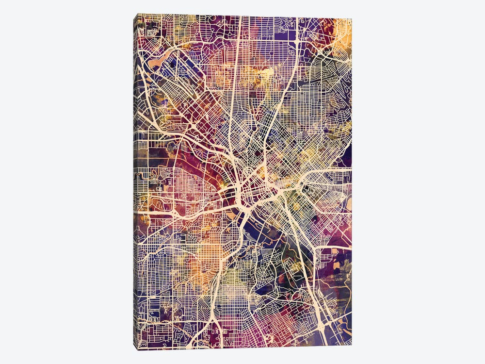 Dallas Texas City Map II by Michael Tompsett 1-piece Canvas Print