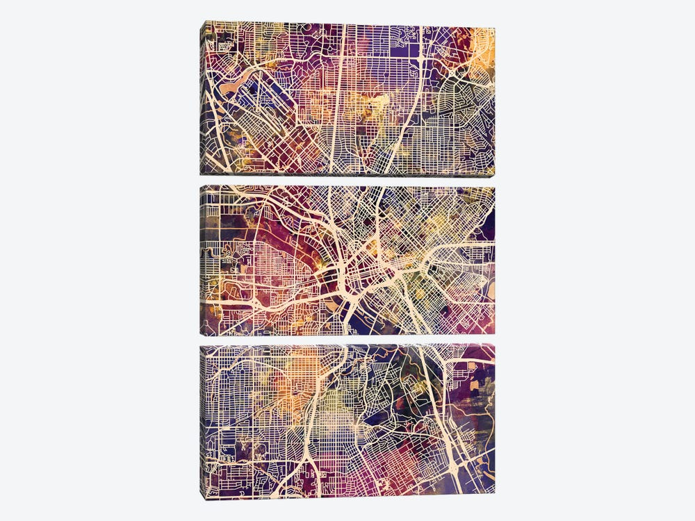 Dallas Texas City Map II by Michael Tompsett 3-piece Art Print