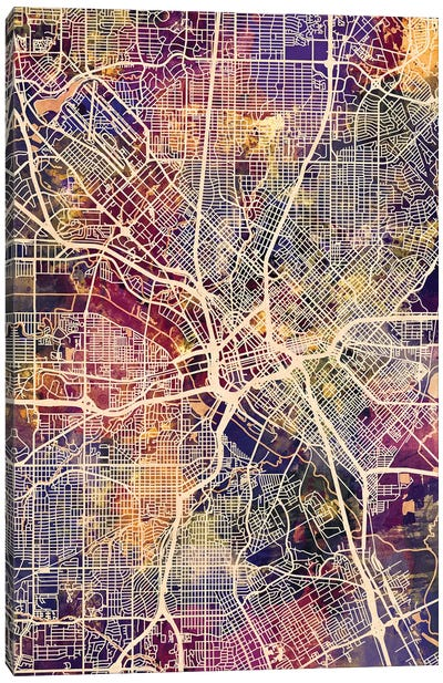 Dallas Texas City Map II Canvas Art Print