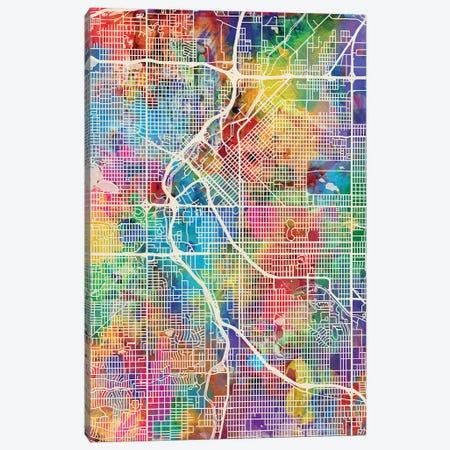 Denver Colorado Street Map I Canvas Print #MTO1698} by Michael Tompsett Canvas Print